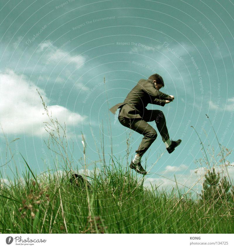 my invisible pony Himmel Mann blau grün Wiese oben Gras springen Business Arbeit & Erwerbstätigkeit fliegen Flugzeug Energiewirtschaft Geschwindigkeit Erfolg Luftverkehr