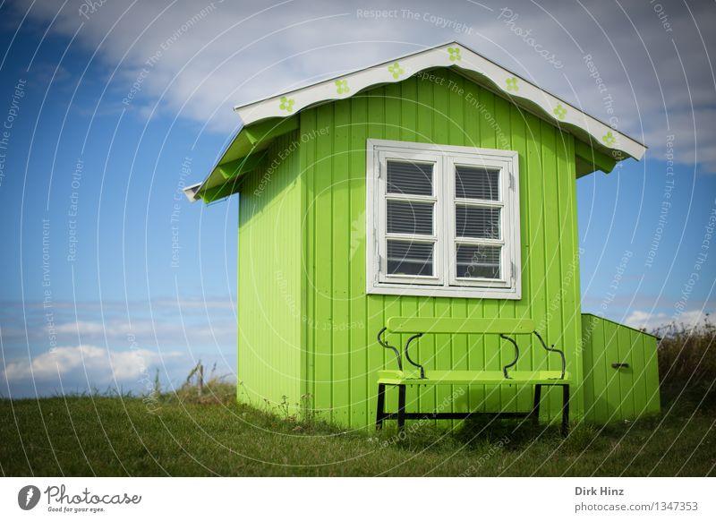 Strandhaus auf Ærø I Ferien & Urlaub & Reisen blau grün schön Farbe Sonne Erholung Einsamkeit ruhig Haus Ferne Architektur natürlich Gebäude Freiheit