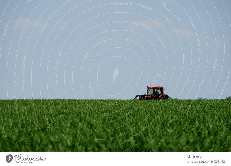 Traktor, Feld, Himmel Natur schön Baum grün blau Landschaft braun rein Bauernhof Idylle Landwirtschaft Korn Schönes Wetter