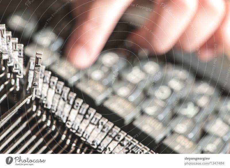 alt Metall retro Information Spuren Tradition Wort Typographie Text klassisch Presse Objektfotografie Antiquität Schreibmaschine Drucker