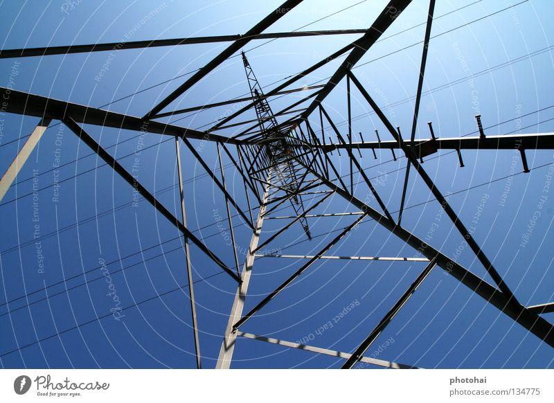 Strommasten Hochspannungsleitung Schönes Wetter Weitwinkel abstrakt gefährlich e-on Blauer Himmel coole Optik mal was anderes