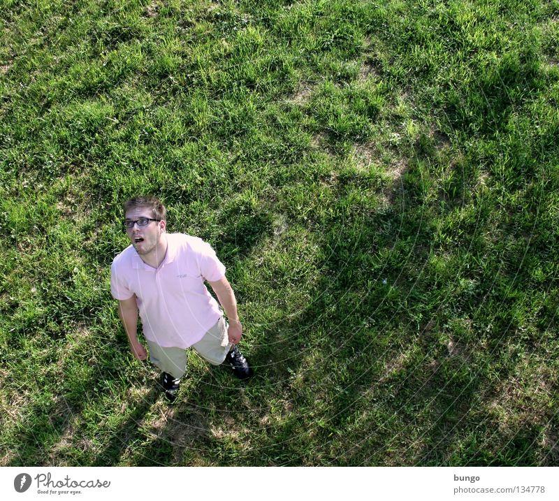 marcus videt Wiese Gras hoch groß klein stehen Blick unten Oberkörper Vogelperspektive dumm Gesichtsausdruck verrückt Dummkopf Einsamkeit Freak Langeweile Mann