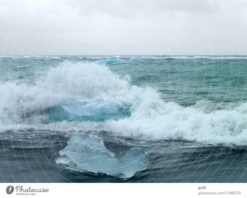 coastal iceberg scenery Meer Wellen Natur Wasser Wolken Küste kalt Sauberkeit blau Eisberg Island Eisscholle schwimmender eisberg treibender eisberg gefroren