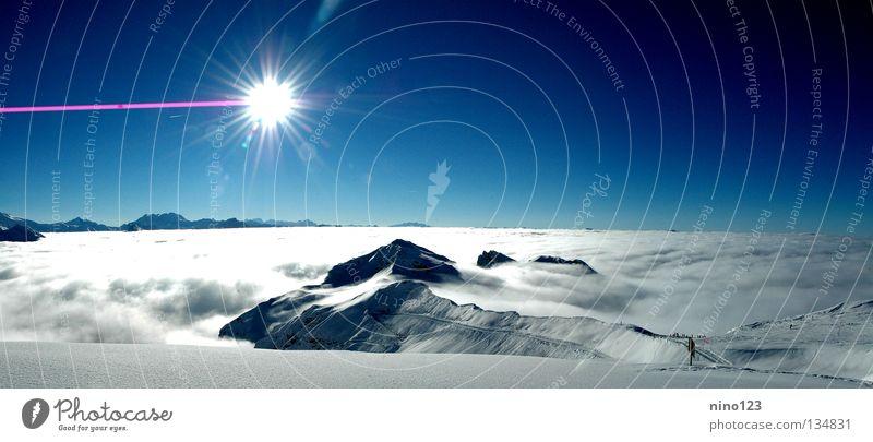 La Plagne Gletscher Frankreich Wolken Gipfel Berge u. Gebirge Sonne Eis Schnee