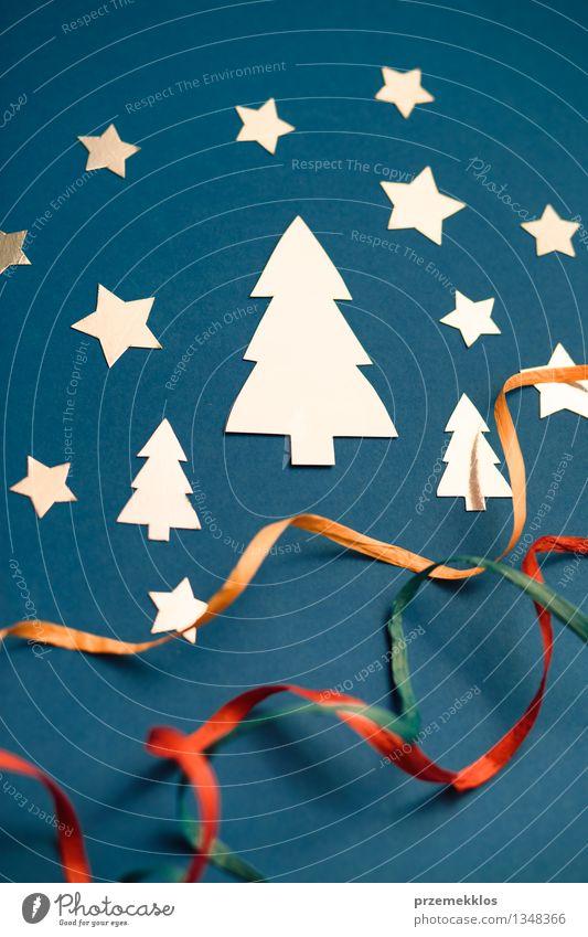 blau Baum Winter Hintergrundbild Feste & Feiern glänzend Kreativität Papier Stern (Symbol) Schnur Postkarte Symbole & Metaphern Band selbstgemacht Objektfotografie Saison