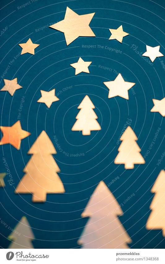 Weihnachtskarte aus ausgeschnittenem Hochglanzpapier Winter Baum Papier Dekoration & Verzierung glänzend blau gold Kreativität Postkarte Objektfotografie