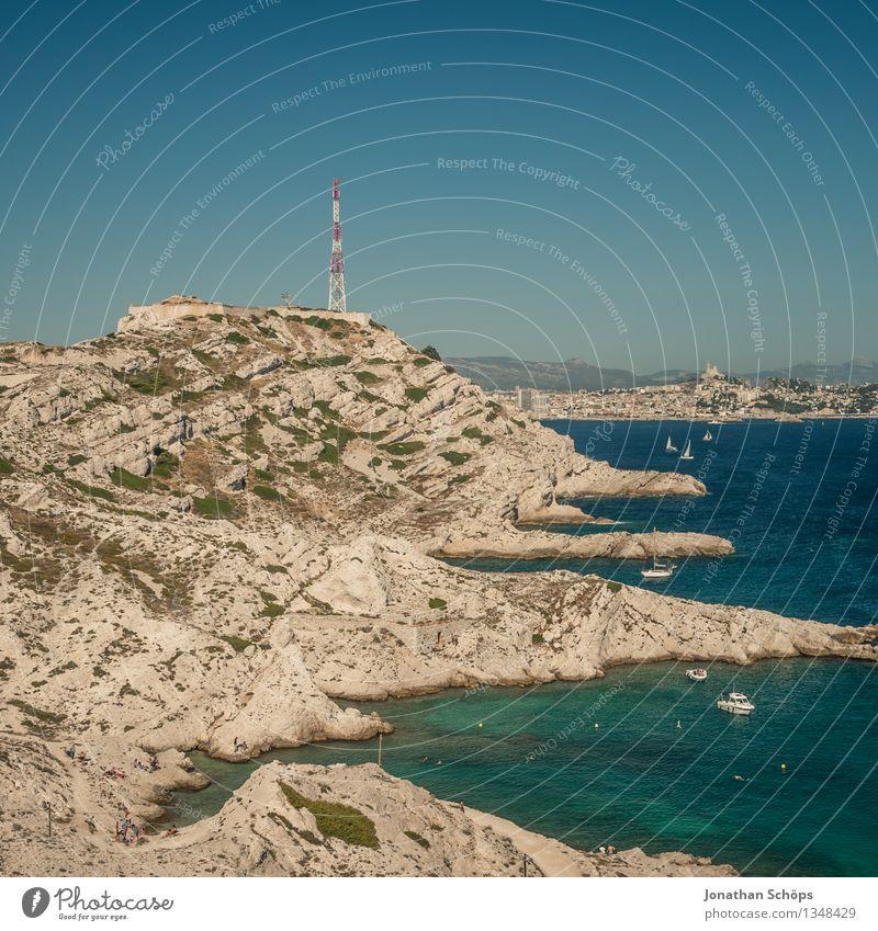 Îles de Marseille IX Natur Ferien & Urlaub & Reisen Sommer Landschaft Meer Ferne Berge u. Gebirge Umwelt Wärme Küste Schwimmen & Baden Felsen Wasserfahrzeug