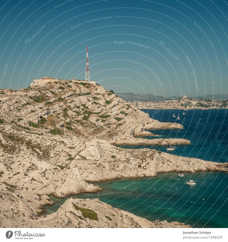 Îles de Marseille IX Umwelt Natur Landschaft Wolkenloser Himmel Sommer Schönes Wetter Küste Bucht Meer Insel Ferne Frankreich Südfrankreich Süden Wärme Felsen