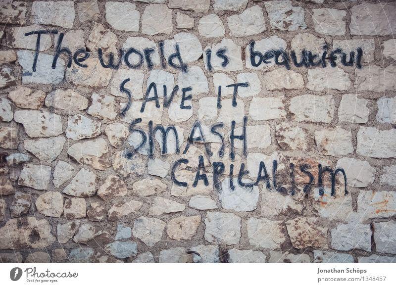 *** 900 *** The world ist beautiful – SAVE IT, Ende des Kapitalismus Stadtrand Mauer Wand Aggression Kritik Graffiti Mauerstein Mauerstreifen dreckig beschmiert