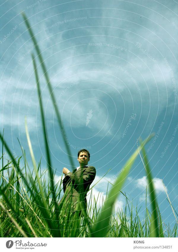 der mann im hintergrund Mensch Himmel Mann blau Sommer Wolken Farbe Wiese Arbeit & Erwerbstätigkeit Hintergrundbild maskulin Erfolg Coolness trist Rauchen