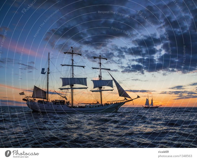 Hanse Sail Ferien & Urlaub & Reisen Wellen Segeln Wasser Wolken Küste Ostsee Meer Segelschiff Wasserfahrzeug maritim blau Abenteuer Tourismus Tradition