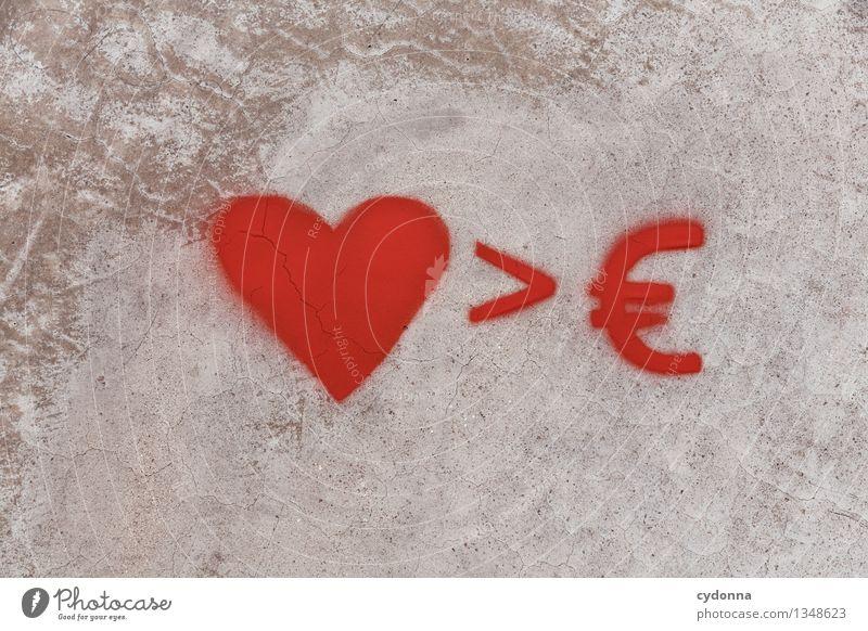 Geld oder Liebe Wand Leben Graffiti Liebe Gefühle Mauer Lifestyle Freiheit Business Arbeit & Erwerbstätigkeit Schilder & Markierungen Erfolg groß Zukunft Herz Zeichen