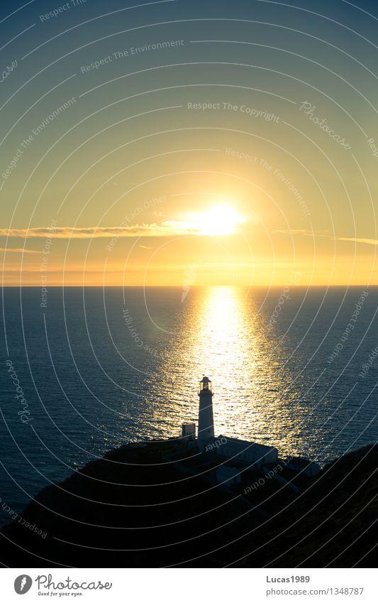Leuchtturm Ferien & Urlaub & Reisen Tourismus Ausflug Abenteuer Ferne Freiheit Himmel Sonnenaufgang Sonnenuntergang Felsen Wellen Küste Bucht Meer Insel
