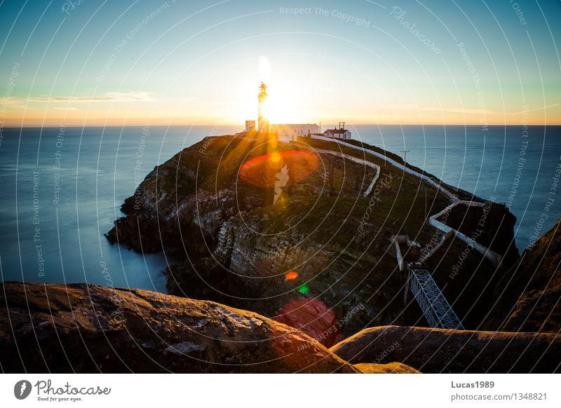 Sonnenuntergang Natur Ferien & Urlaub & Reisen schön Meer Landschaft Ferne Umwelt Architektur Küste Gebäude Freiheit Felsen Nebel Tourismus Wellen
