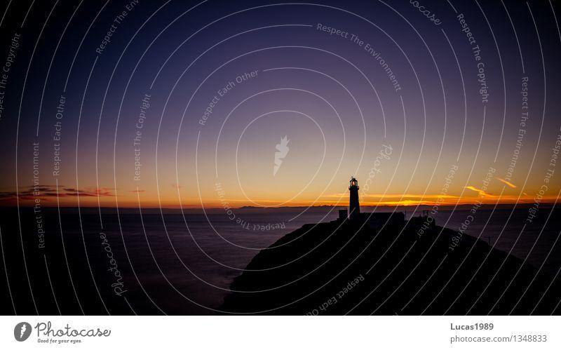 Guten Abend, Gute Nacht. Himmel Natur Ferien & Urlaub & Reisen Wasser Meer Landschaft Ferne schwarz Umwelt gelb Küste Freiheit Felsen orange Tourismus Wellen