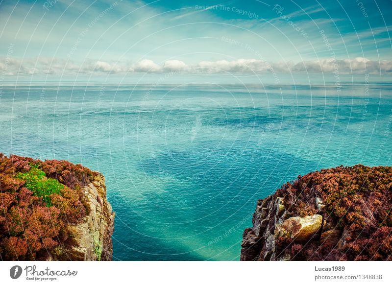 Schlucht Himmel Natur Ferien & Urlaub & Reisen Pflanze blau Wasser Meer Landschaft Strand Umwelt Gras Küste Wetter Tourismus Wellen Sträucher