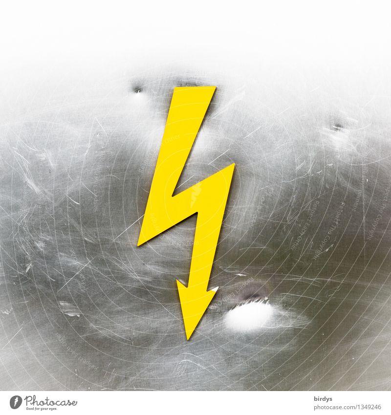 Hochspannung Energiewirtschaft Zeichen Schilder & Markierungen Hinweisschild Warnschild Blitzschlag Vorsicht Hochspannung Aggression ästhetisch eckig Spitze