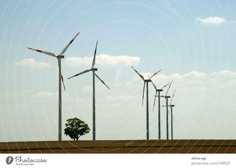 Windenergieanlage Himmel blau Wolken Feld Wind Wetter hoch Industrie Energiewirtschaft Elektrizität neu Niveau Flügel Sauberkeit Windkraftanlage ökologisch