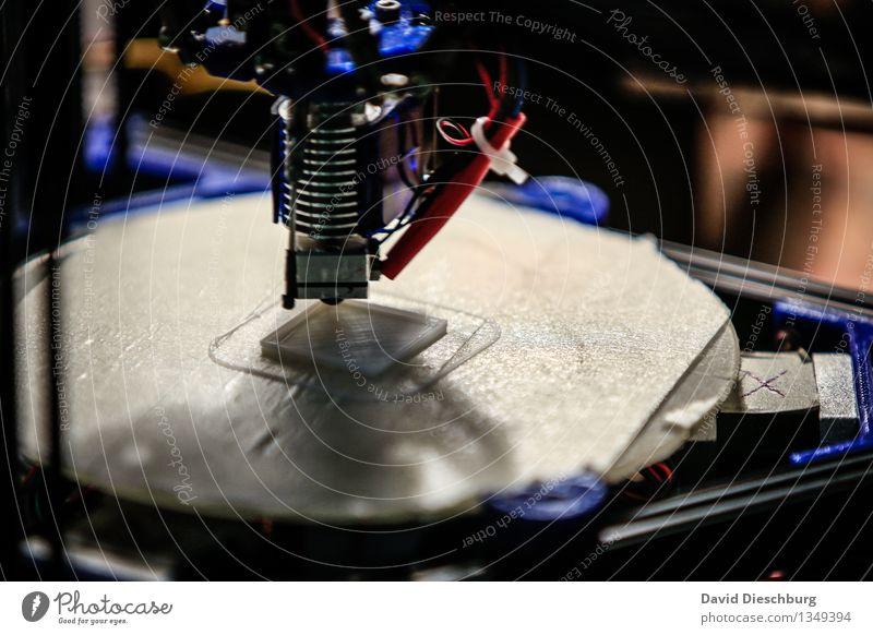 3D-Drucker blau weiß schwarz Kunst Technik & Technologie Computer Zukunft Idee Industrie planen Kunststoff Handwerk silber Werkzeug Maschine Problemlösung