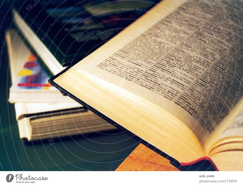 Bücher Buch lesen Text Schriftstück Dinge Bücherstapel Seite blättern Fremdwörterbuch