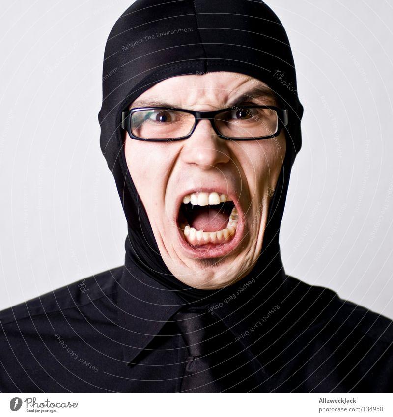 sich mal so richtig zum idoten machen Mann schwarz maskulin schreien Hemd Warnhinweis Krawatte Kapuze laut Taucher Kragen Helm Warnschild durchdrehen Brillenträger Überzug