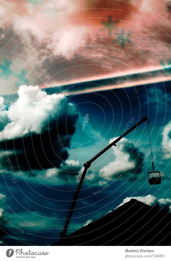 Wolkenschaufeln Himmel blau grün Sommer Wasser weiß Sonne Wolken Haus Ferne Hintergrundbild Freiheit Regen Wetter Häusliches Leben Wind