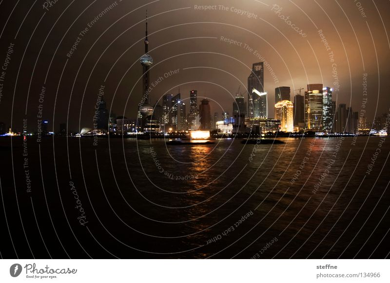Ansichtskarte Stadt Haus Hochhaus hoch Macht Asien China Skyline Fernsehturm Shanghai gigantisch Pu Dong