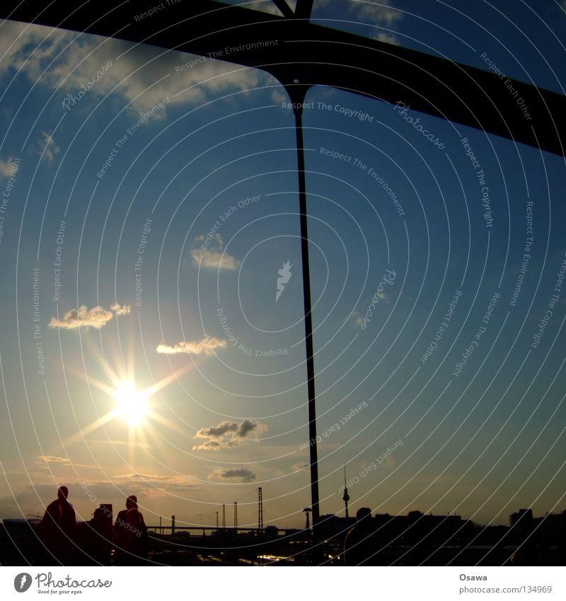 Modersohn Aussicht Abend Sonnenuntergang Friedrichshain Erholung Feierabend Brücke Himmel Mensch Abenddämmerung Berlin Modersohnbrücke Modersohnstraße