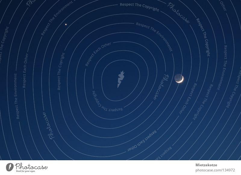 Papa und Kind Vollmond Halbmond Nacht dunkel Himmelskörper & Weltall Mond blau Sternenhimmel