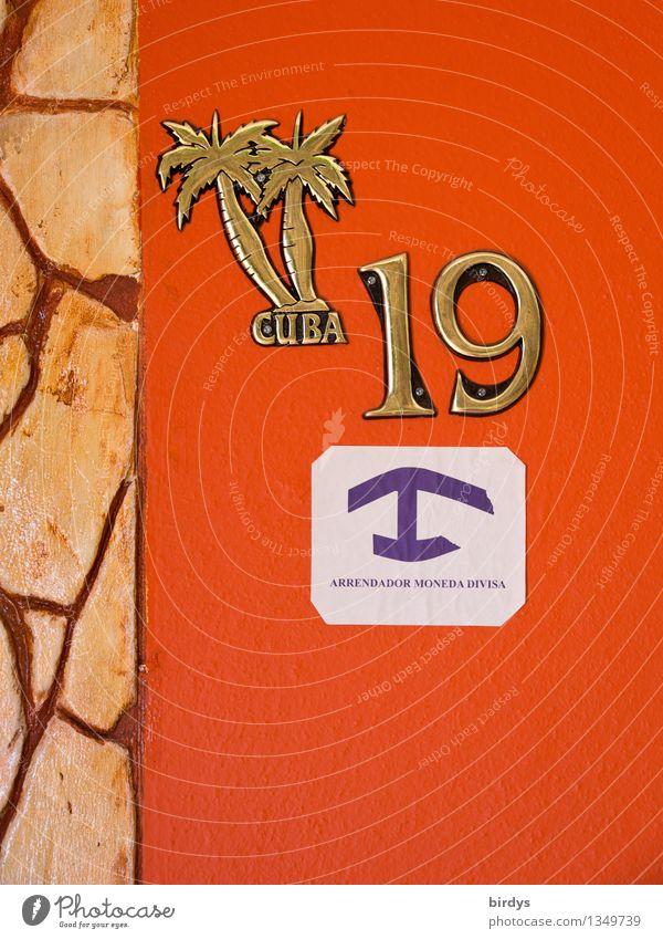 Casa particular Kuba Ferien & Urlaub & Reisen Erholung Wand Mauer orange Design Häusliches Leben Tourismus Schilder & Markierungen ästhetisch Hinweisschild
