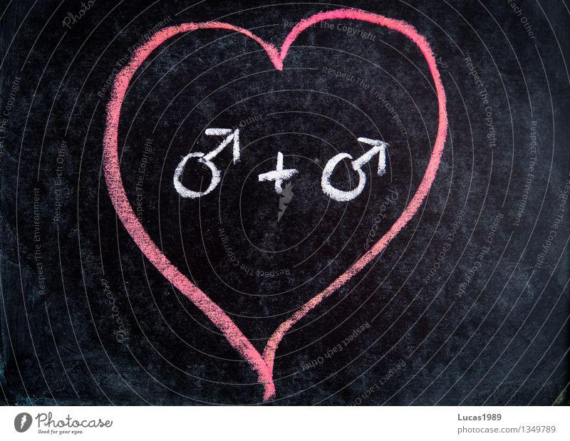 Same Love Schule Tafel Mensch maskulin Junger Mann Jugendliche Erwachsene Paar Partner Leben 2 Kreide Symbole & Metaphern rosa schwarz weiß Zusammensein Liebe