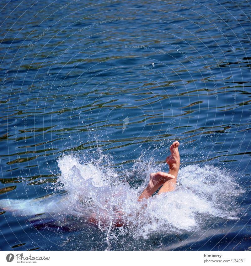 deepblue Mensch Mann Wasser Meer Sommer Ferien & Urlaub & Reisen Sport Erholung springen Fuß See nass tauchen Schwimmen & Baden sportlich