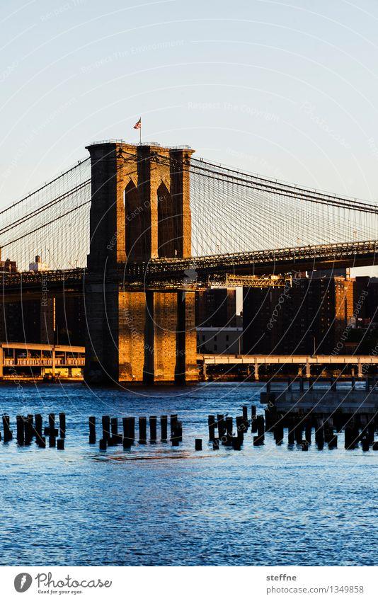 Balancieren Wasser ruhig ästhetisch Brücke Schönes Wetter Fluss USA Wolkenloser Himmel Wahrzeichen Bekanntheit Manhattan New York City Brooklyn Brooklyn Bridge