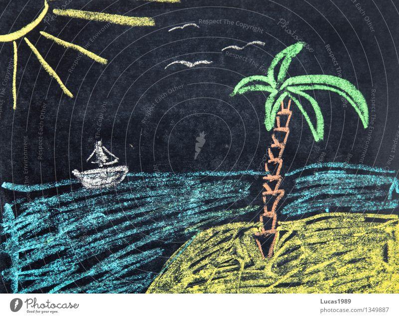 Urlaubsfoto Ferien & Urlaub & Reisen Sommer Wasser Sonne Meer Ferne Strand Wärme Freiheit Sand Tourismus Wellen Insel Ausflug malen Abenteuer