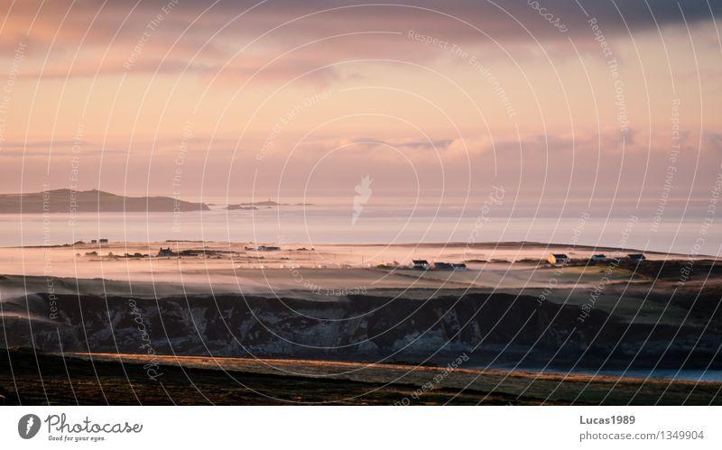Nebelbank an der Küste Ferien & Urlaub & Reisen Tourismus Ausflug Abenteuer Ferne Freiheit Natur Landschaft Himmel Wolken Sonnenaufgang Sonnenuntergang Hügel