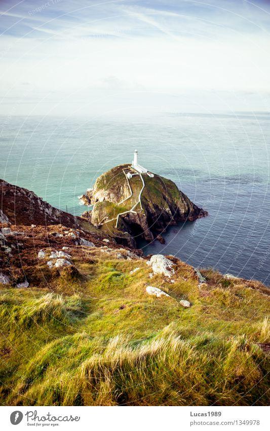 White Lighthouse Natur Ferien & Urlaub & Reisen blau grün weiß Meer Landschaft Ferne Strand natürlich Küste Freiheit Tourismus Wellen Insel Ausflug