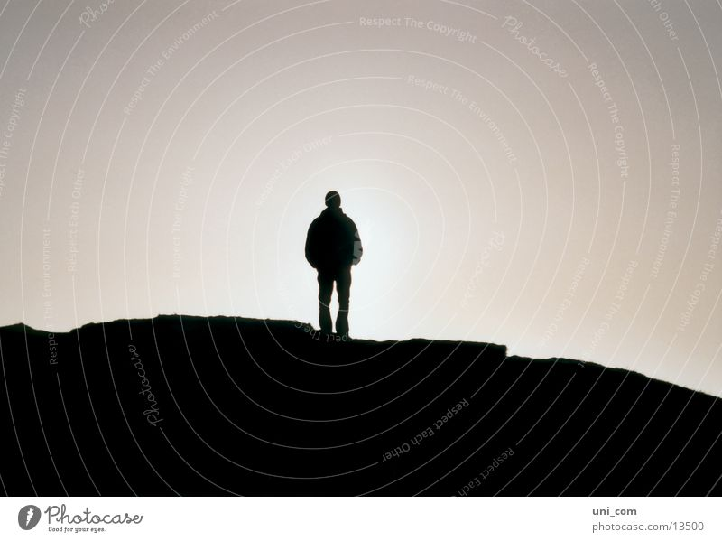 Silhouette Mensch Mann Berge u. Gebirge