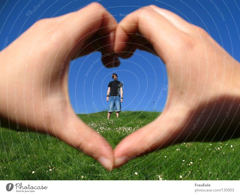 Sommerliebe Mensch Mann Hand Himmel Blume grün blau Sommer Liebe Wiese Herz Finger Jeanshose Romantik stehen Sehnsucht