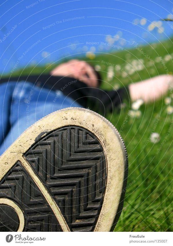 abratzen I Himmel Mann grün blau Freude Sommer Blume Erholung Wiese Berge u. Gebirge Beine Stimmung Fuß Schuhe Mund Zufriedenheit