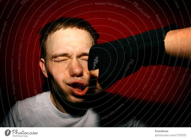 zack boom kawoosh rot Freude Gesicht Sport Wand Bewegung Kraft lustig Nase verrückt Kraft Aktion Coolness Wut schreien Gewalt