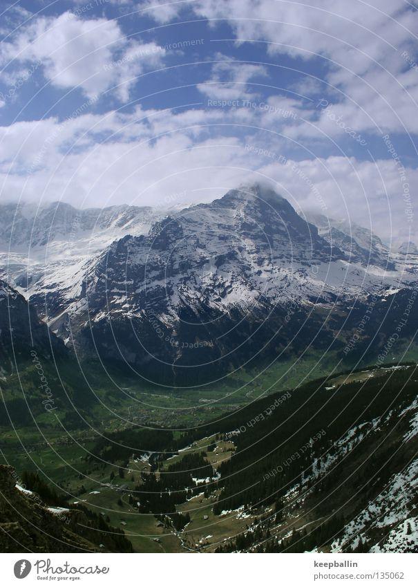 Eiger Himmel Wald Schnee Berge u. Gebirge Eis Schweiz Tal Berner Oberland Grindelwald