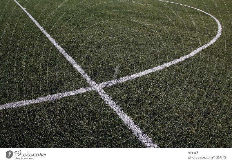 Fußballfeld weiß Farbe Wiese Sport Gras Erde Linie Park Rücken Platz neu Bodenbelag gut rund Sauberkeit