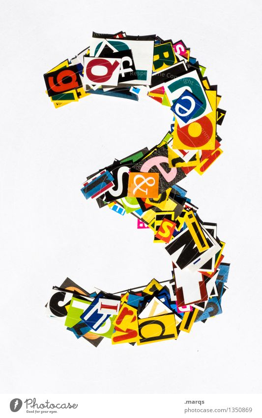 3 Stil Design Ziffern & Zahlen mehrfarbig Schnipsel Geburtstag Farbfoto Studioaufnahme Freisteller Hintergrund neutral