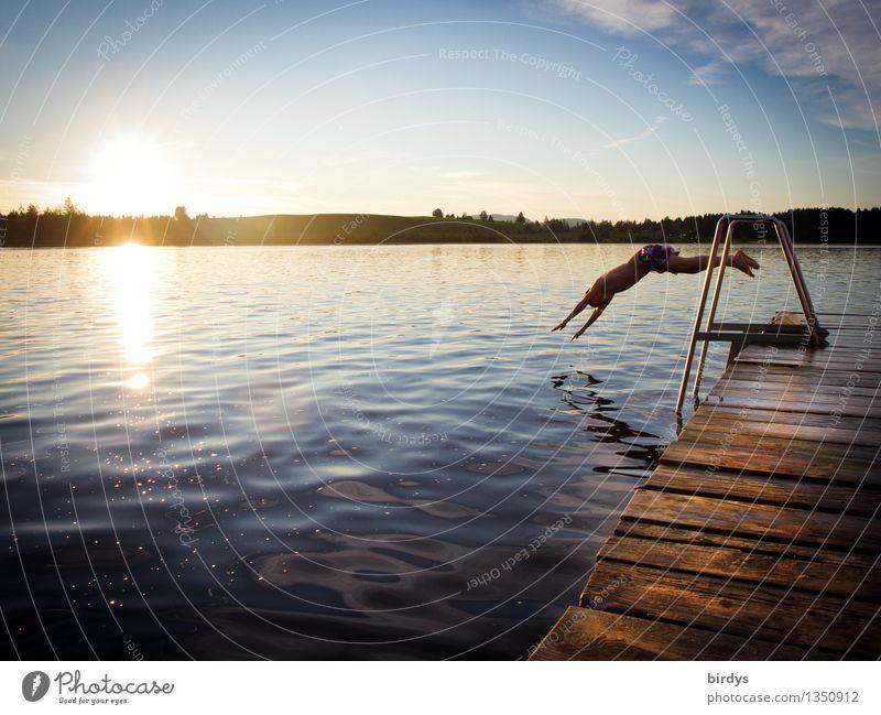 Jugendlicher sring von einem Steg kopfüber in einen See Schwimmen & Baden Ferien & Urlaub & Reisen Sommerurlaub Junge 1 Mensch 13-18 Jahre Wasser Himmel
