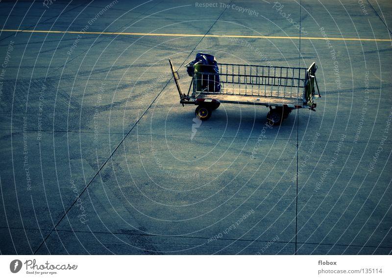 THE Gepäckwagen Wagen Go-Kart Landeplatz Flugzeug Koffer Güterverkehr & Logistik laden Verkehr Ankunft kümmern Versorgung Ware fliegen Flughafen