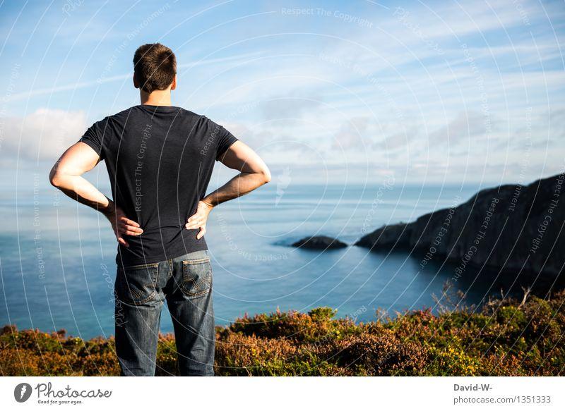 gerade Fernweh... Mensch Natur Ferien & Urlaub & Reisen Jugendliche Mann Sommer Sonne Meer Landschaft Junger Mann Ferne Erwachsene Umwelt Leben Küste Lifestyle