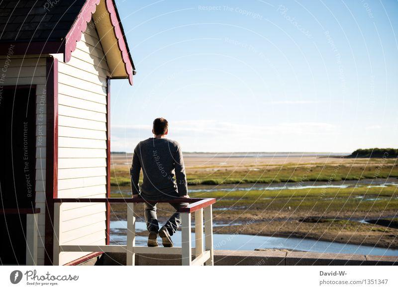 sitzend 2 Mensch Natur Ferien & Urlaub & Reisen Jugendliche Mann Erholung Junger Mann Landschaft ruhig Haus Ferne 18-30 Jahre Erwachsene Leben Wohnung maskulin