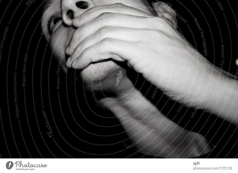Drei Zweifel, ein Nullpunkt Mensch Mann weiß Einsamkeit ruhig schwarz Gesicht kalt Religion & Glaube Traurigkeit Eis Zufriedenheit Angst außergewöhnlich Mund