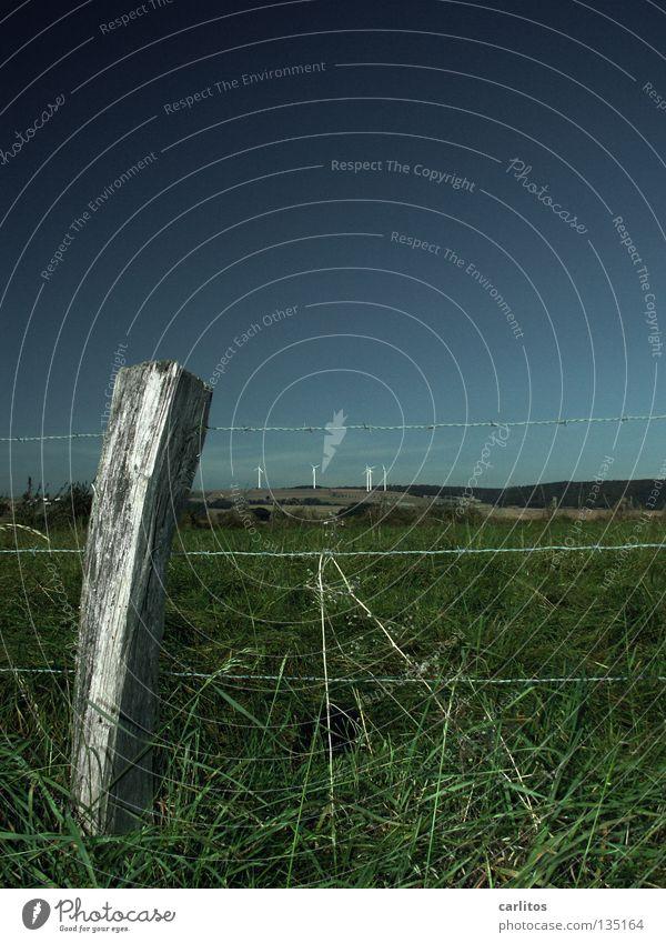 Vollpfosten Sommer Wiese Luft Wind Grenze Weide Zaun ökologisch Stacheldraht Erneuerbare Energie Zaunpfahl nachwachsender Rohstoff