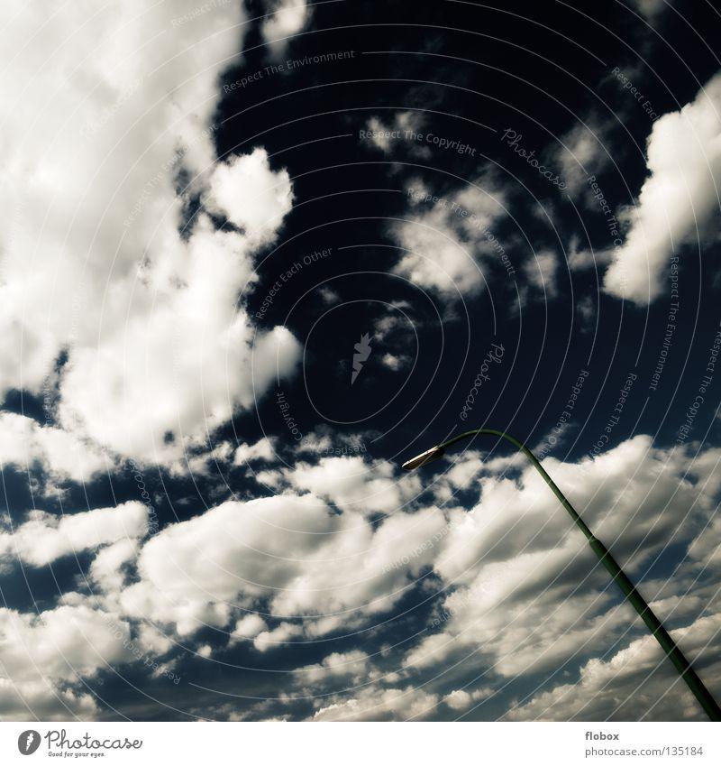 ... Himmel blau ruhig Wolken Einsamkeit Farbe Lampe dunkel Angst gefährlich stehen bedrohlich Laterne Panik Straßenbeleuchtung mystisch